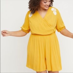 Yellow embroidery romper